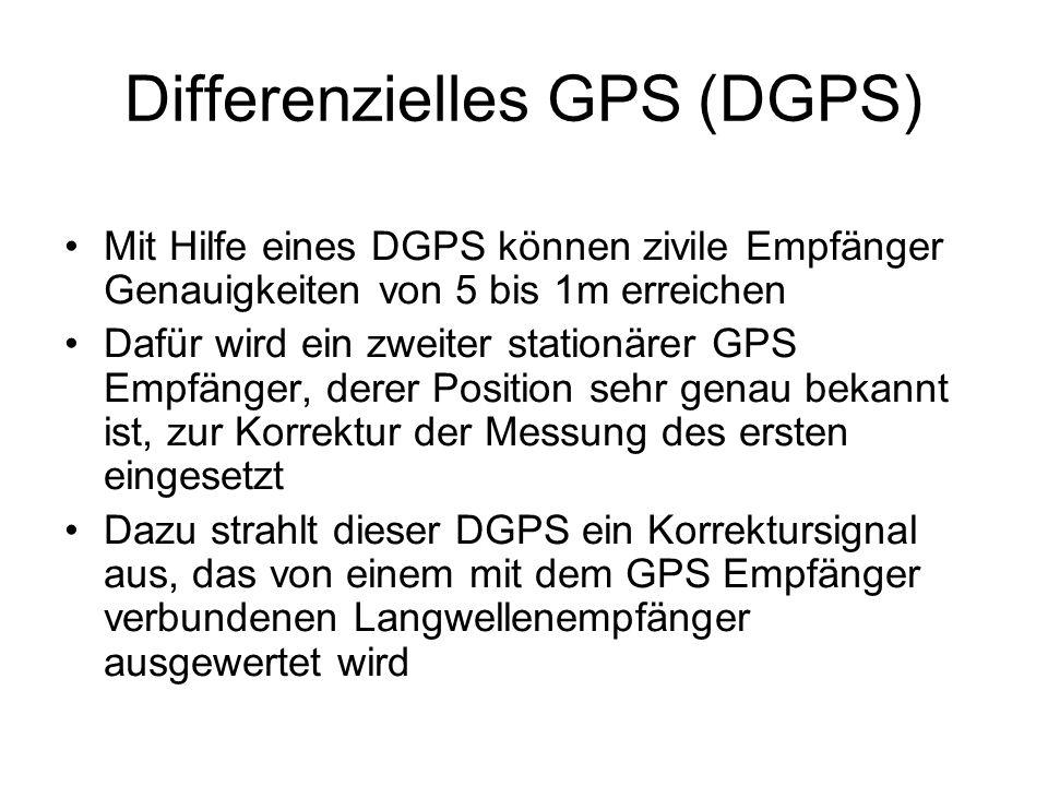 Differenzielles GPS (DGPS) Mit Hilfe eines DGPS können zivile Empfänger Genauigkeiten von 5 bis 1m erreichen Dafür wird ein zweiter stationärer GPS Em