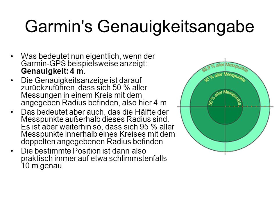 Garmin's Genauigkeitsangabe Was bedeutet nun eigentlich, wenn der Garmin-GPS beispielsweise anzeigt: Genauigkeit: 4 m. Die Genauigkeitsanzeige ist dar