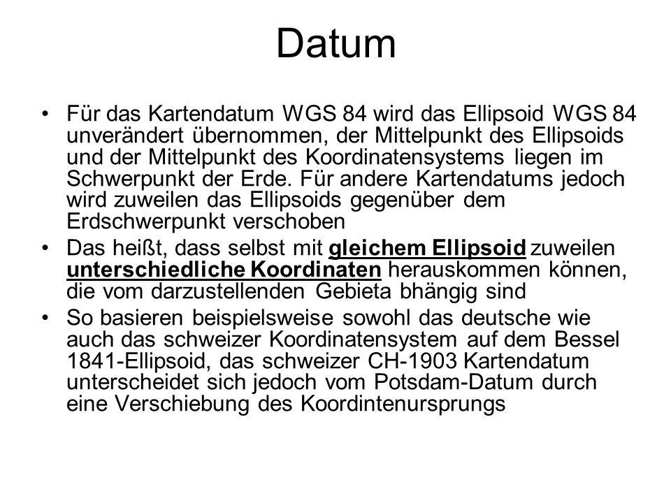 Datum Für das Kartendatum WGS 84 wird das Ellipsoid WGS 84 unverändert übernommen, der Mittelpunkt des Ellipsoids und der Mittelpunkt des Koordinatens