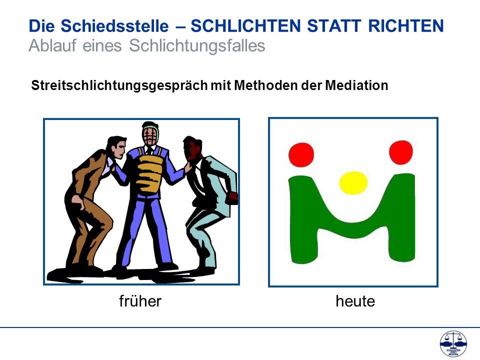 Die Schiedsstelle – SCHLICHTEN STATT RICHTEN Ablauf eines Schlichtungsfalles Streitschlichtungsgespräch mit Methoden der Mediation früherheute