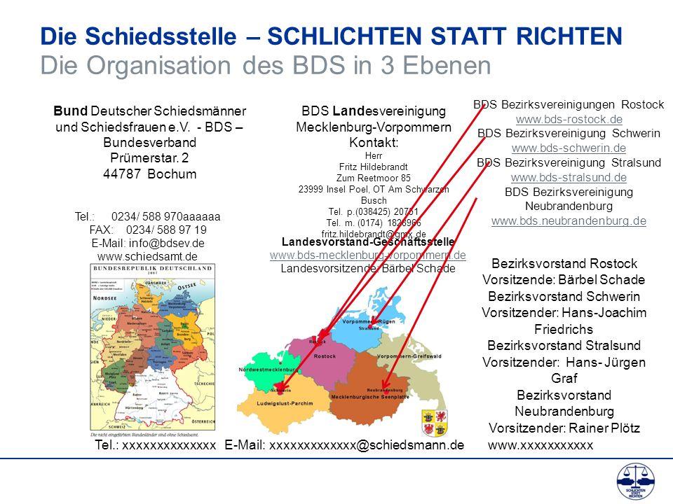 Die Schiedsstelle – SCHLICHTEN STATT RICHTEN Die Organisation des BDS in 3 Ebenen Bund Deutscher Schiedsmänner und Schiedsfrauen e.V. - BDS – Bundesve
