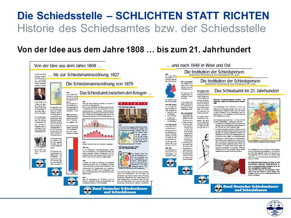 Die Schiedsstelle – SCHLICHTEN STATT RICHTEN Historie des Schiedsamtes bzw. der Schiedsstelle Von der Idee aus dem Jahre 1808 … bis zum 21. Jahrhunder