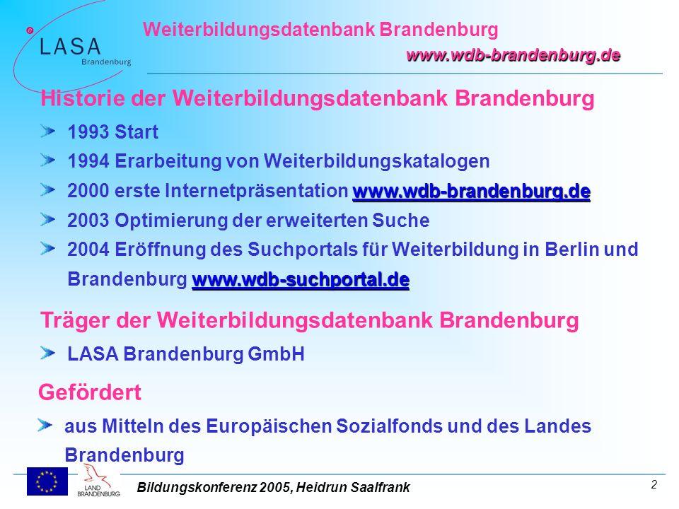 Bildungskonferenz 2005, Heidrun Saalfrank Weiterbildungsdatenbank Brandenburg www.wdb-brandenburg.de 3 Das Suchportal ermöglicht die gleichzeitige Suche im Datenbestand der Weiterbildungsdatenbanken Brandenburg und Berlin.