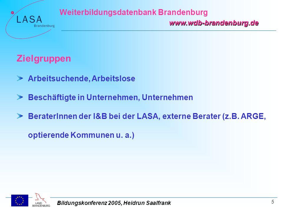 Bildungskonferenz 2005, Heidrun Saalfrank Weiterbildungsdatenbank Brandenburg www.wdb-brandenburg.de 6 Unsere Leistungen www.wdb-brandenburg.de www.wdb-brandenburg.de Internetpräsentation www.wdb-brandenburg.de www.wdb-brandenburg.de tagaktuell - kostenfrei - ortsunabhängig – zeitunabhängig tägliche Recherche, Erfassung und Aktualisierung der Daten wdb@lasa-brandenburg.de wdb@lasa-brandenburg.de Schriftlicher Auskunftsservice E-Mail: wdb@lasa-brandenburg.dewdb@lasa-brandenburg.de Info - Terminal bei der LASA für Bildungsinteressierte ohne Internetanschluss Wetzlarer Str.