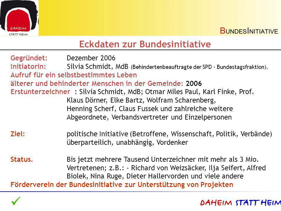 Gegründet: Dezember 2006 Initiatorin: Silvia Schmidt, MdB (Behindertenbeauftragte der SPD - Bundestagsfraktion). Aufruf für ein selbstbestimmtes Leben