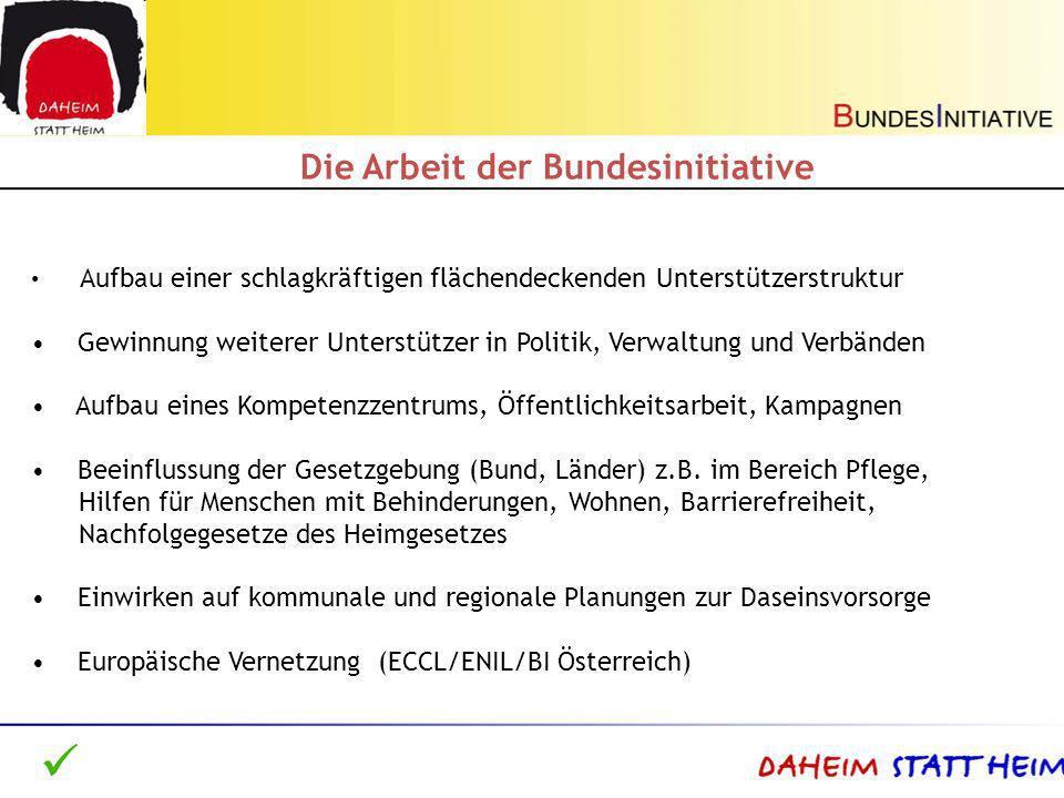 Auch nach - dem Paradigmenwechsel des SGB IX (Fürsorge-> Teilhabe), - dem Rechtsanspruch auf ein persönliches trägerübergreifendes Budget (2008), - der Ratifizierung UN-Konvention über die Rechte von Menschen mit Behinderungen in Deutschland (2009) Wahrnehmung des Rechts von Menschen mit Unterstützungs- und Pflegebedarf zum selbst bestimmten Leben außerhalb von Institutionen in der sozialen Wirklichkeit kaum gewährleistet Wohlfahrtspflege/Sozialwirtschaft versus Selbsthilfe/-vertretung Burgenbau in der Eingliederungshilfe/Pflege zwischen Leistungserbringern und Kostenträgern ohne Berücksichtigung der Interessen Betroffener Ausgangssituation in Deutschland