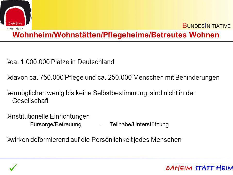ca. 1.000.000 Plätze in Deutschland davon ca. 750.000 Pflege und ca. 250.000 Menschen mit Behinderungen ermöglichen wenig bis keine Selbstbestimmung,