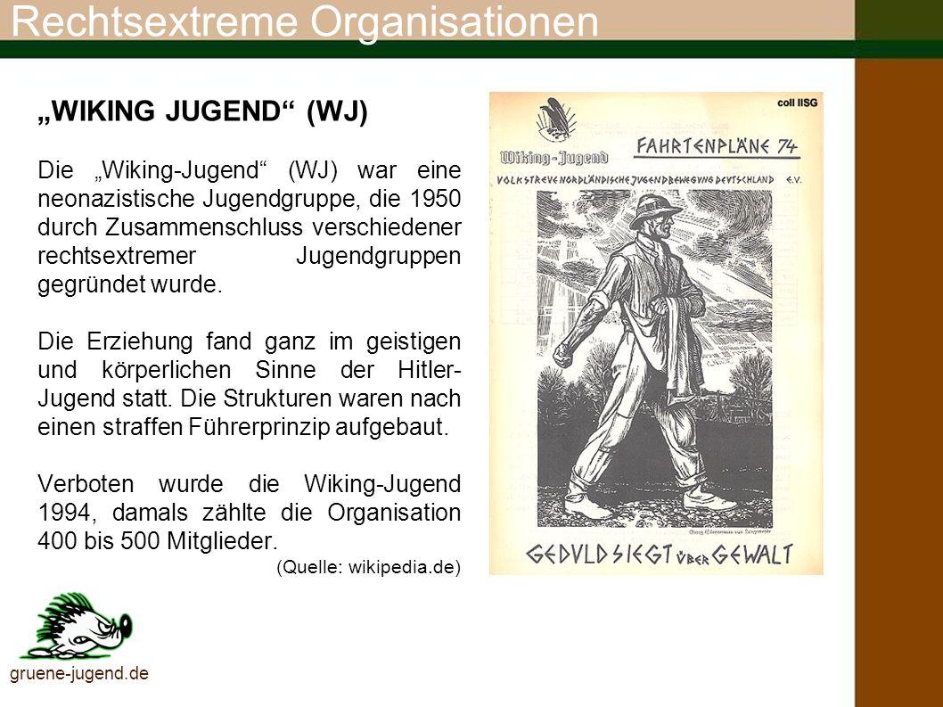 Rechtsextreme Organisationen gruene-jugend.de Flugblatt der Wiking Jugend (Quelle: http://lexikon.idgr.de/)