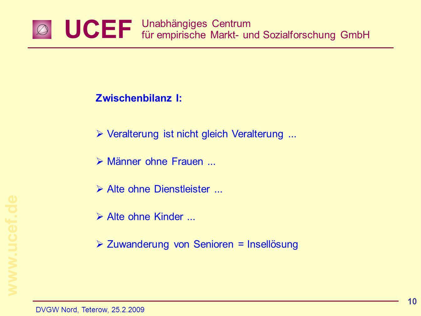 UCEF Unabhängiges Centrum für empirische Markt- und Sozialforschung GmbH www.ucef.de DVGW Nord, Teterow, 25.2.2009 10 Zwischenbilanz I: Veralterung is