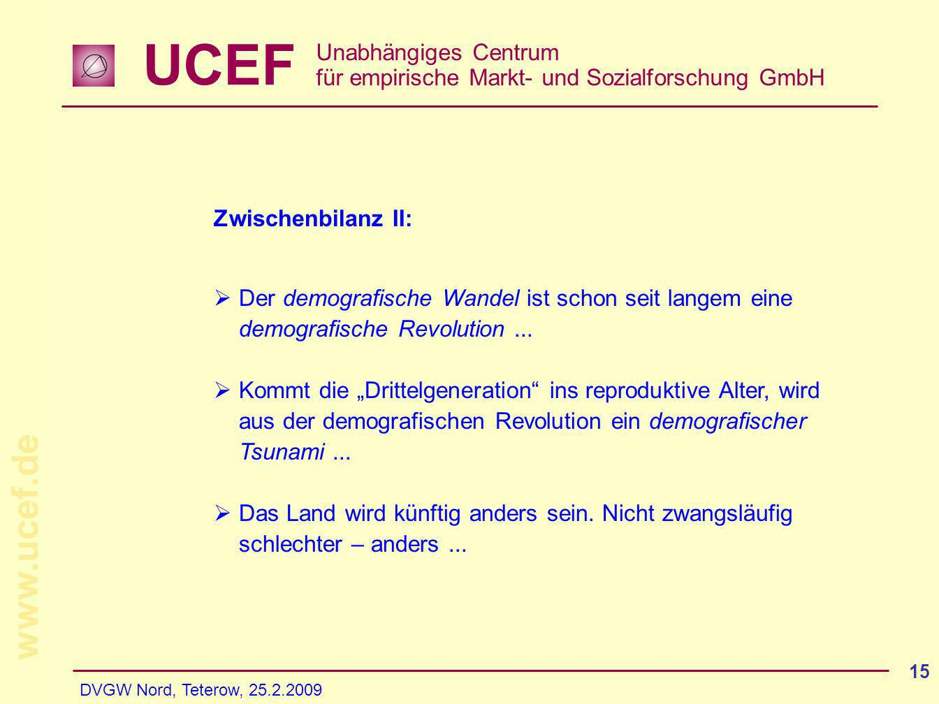 UCEF Unabhängiges Centrum für empirische Markt- und Sozialforschung GmbH www.ucef.de DVGW Nord, Teterow, 25.2.2009 15 Zwischenbilanz II: Der demografi