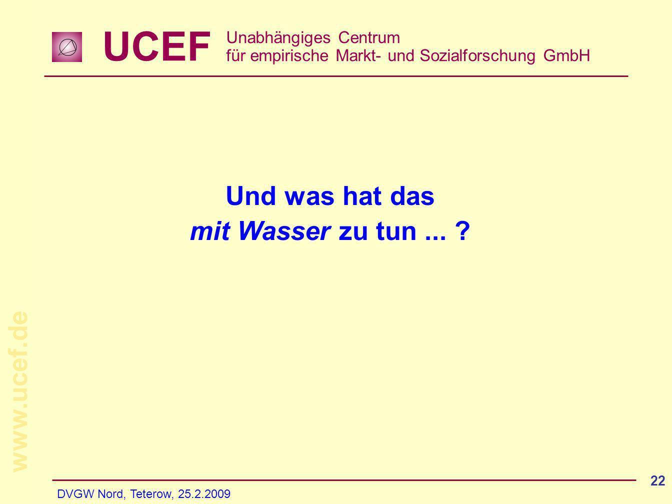 UCEF Unabhängiges Centrum für empirische Markt- und Sozialforschung GmbH www.ucef.de DVGW Nord, Teterow, 25.2.2009 22 Und was hat das mit Wasser zu tu