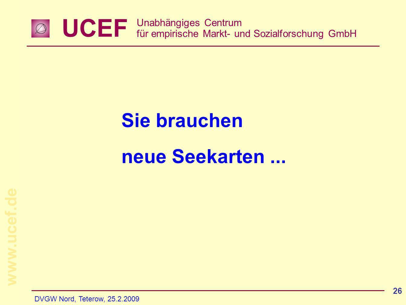 UCEF Unabhängiges Centrum für empirische Markt- und Sozialforschung GmbH www.ucef.de DVGW Nord, Teterow, 25.2.2009 26 Sie brauchen neue Seekarten...