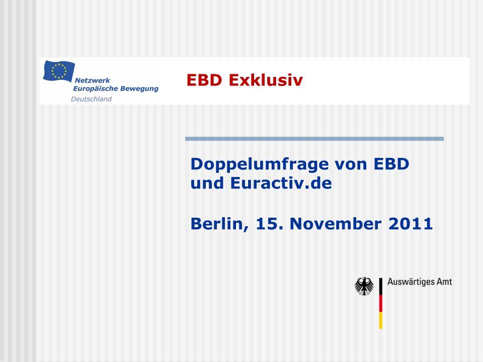 EBD Exklusiv Doppelumfrage von EBD und Euractiv.de Berlin, 15. November 2011