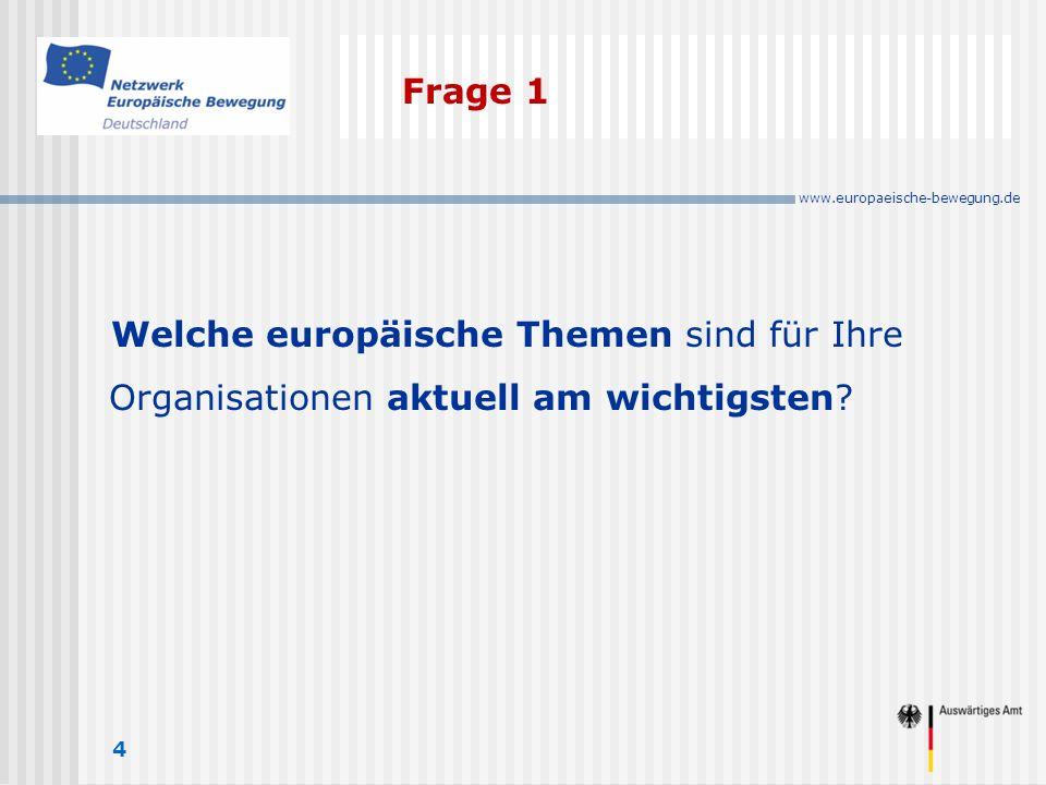 www.europaeische-bewegung.de Frage 1 4 Welche europäische Themen sind für Ihre Organisationen aktuell am wichtigsten
