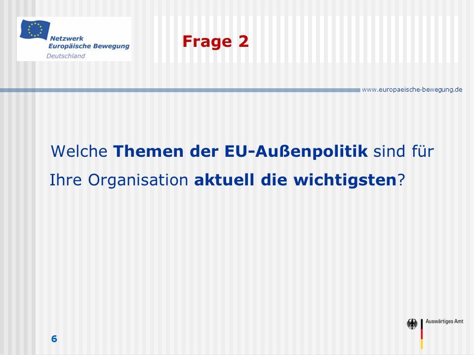 www.europaeische-bewegung.de Frage 2 6 Welche Themen der EU-Außenpolitik sind für Ihre Organisation aktuell die wichtigsten
