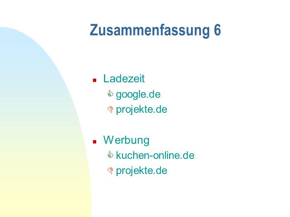 Zusammenfassung 6 n Ladezeit google.de projekte.de n Werbung kuchen-online.de projekte.de