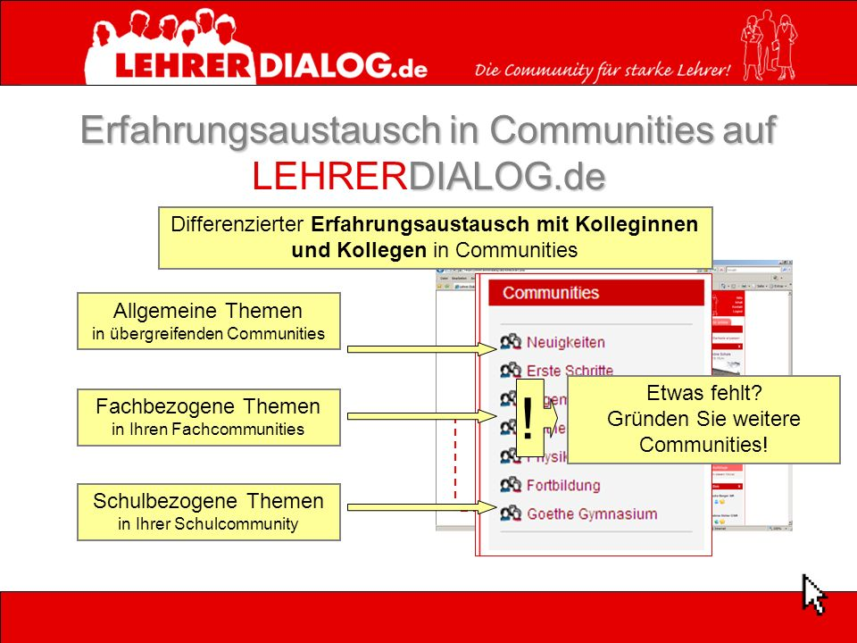 Erfahrungsaustausch in Communities auf DIALOG.de Erfahrungsaustausch in Communities auf LEHRERDIALOG.de Differenzierter Erfahrungsaustausch mit Kolleg