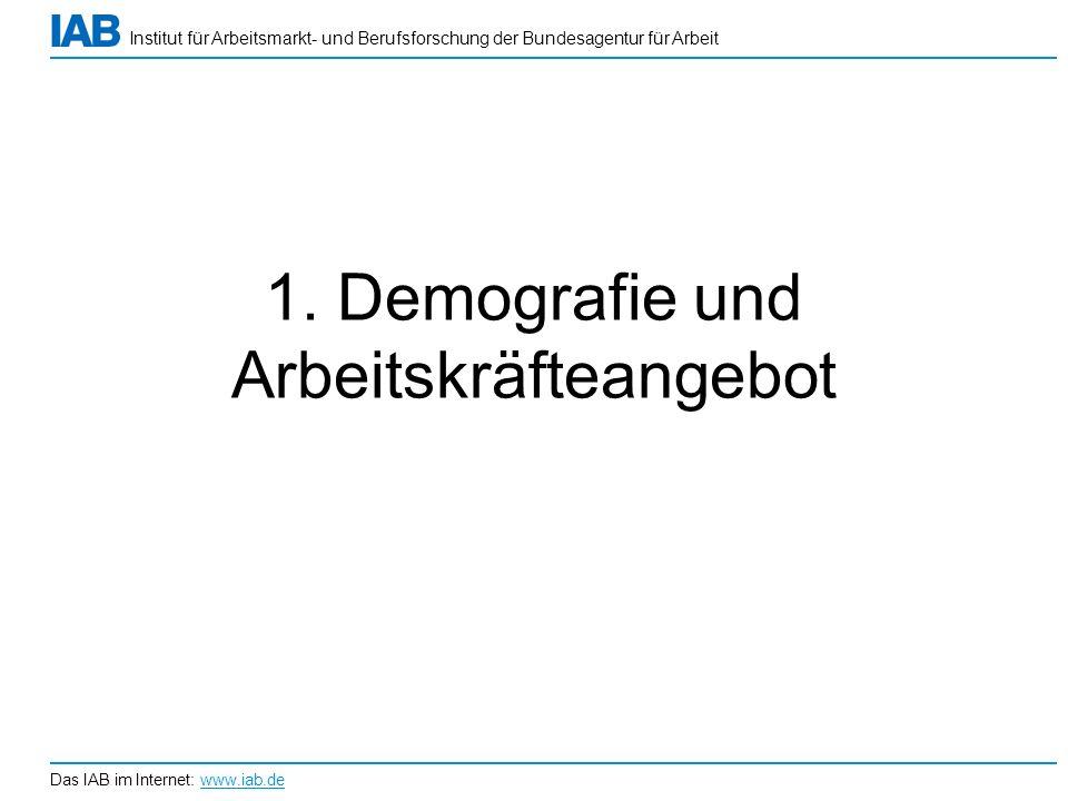 Institut für Arbeitsmarkt- und Berufsforschung der Bundesagentur für Arbeit Das IAB im Internet: www.iab.de 1. Demografie und Arbeitskräfteangebot