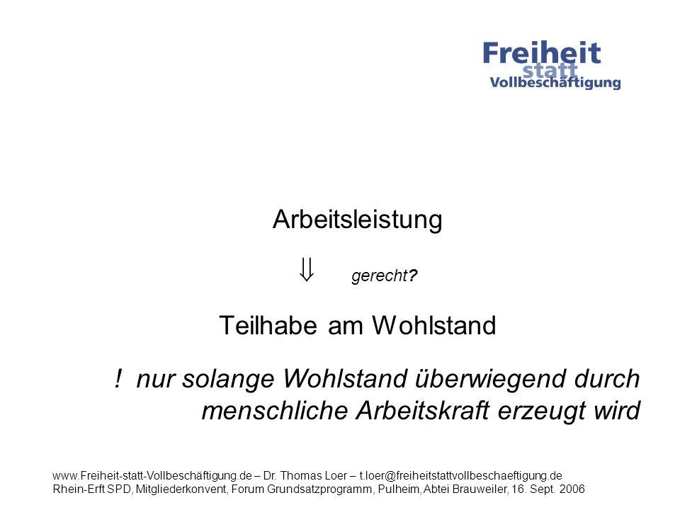 Arbeitsvolumen in Deutschland Quelle: Kamps,C./ Meier,C./Oskamp, F.: Kieler Diskussionsbeiträge, Institut für Weltwirtschaft Kiel, September 2004 www.Freiheit-statt-Vollbeschäftigung.de – Dr.