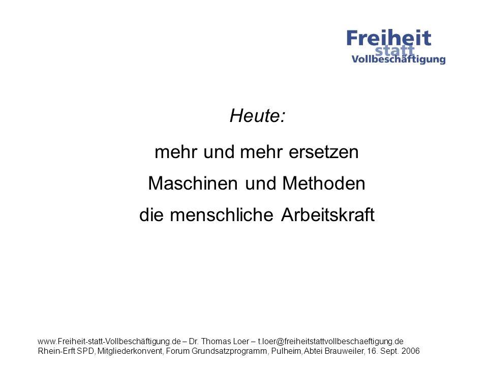 Heute: mehr und mehr ersetzen Maschinen und Methoden die menschliche Arbeitskraft Das bedeutet: www.Freiheit-statt-Vollbeschäftigung.de – Dr.