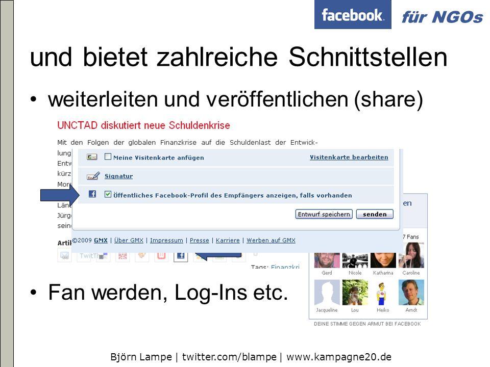 Björn Lampe | twitter.com/blampe | www.kampagne20.de für NGOs weiterleiten und veröffentlichen (share) Fan werden, Log-Ins etc. und bietet zahlreiche