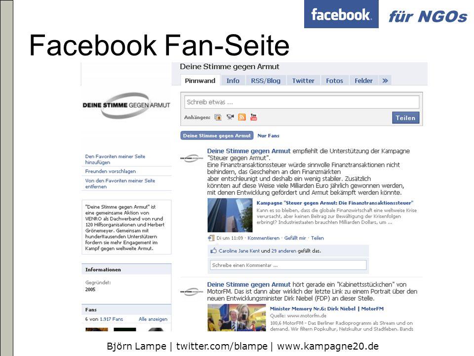 Björn Lampe | twitter.com/blampe | www.kampagne20.de für NGOs Es geht auch anders (mit HTML)