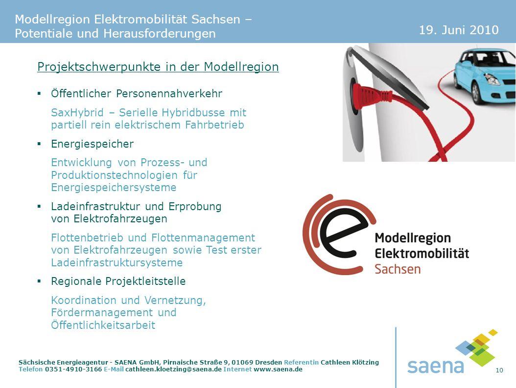 19. Juni 2010 10 Sächsische Energieagentur - SAENA GmbH, Pirnaische Straße 9, 01069 Dresden Referentin Cathleen Klötzing Telefon 0351-4910-3166 E-Mail