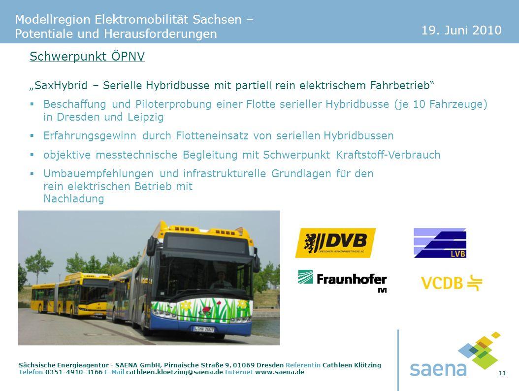 19. Juni 2010 11 Sächsische Energieagentur - SAENA GmbH, Pirnaische Straße 9, 01069 Dresden Referentin Cathleen Klötzing Telefon 0351-4910-3166 E-Mail