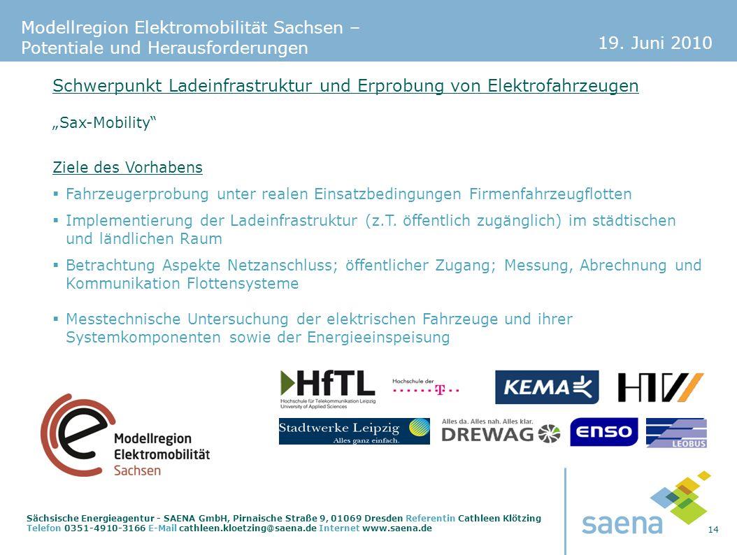 19. Juni 2010 14 Sächsische Energieagentur - SAENA GmbH, Pirnaische Straße 9, 01069 Dresden Referentin Cathleen Klötzing Telefon 0351-4910-3166 E-Mail