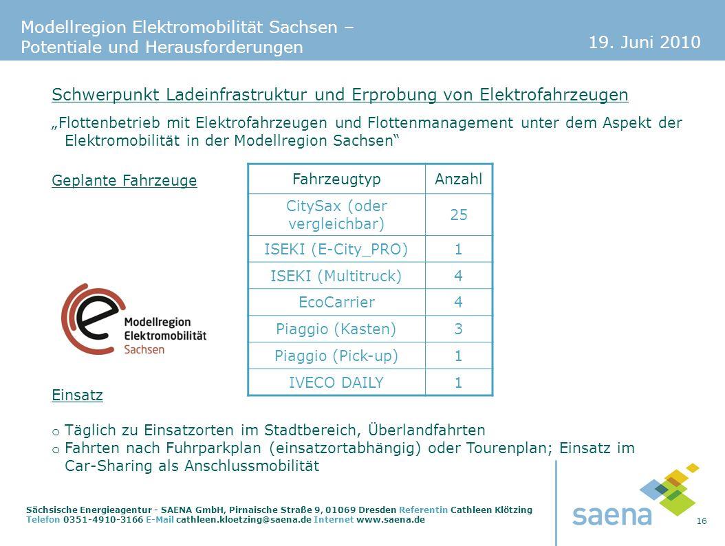 19. Juni 2010 16 Sächsische Energieagentur - SAENA GmbH, Pirnaische Straße 9, 01069 Dresden Referentin Cathleen Klötzing Telefon 0351-4910-3166 E-Mail