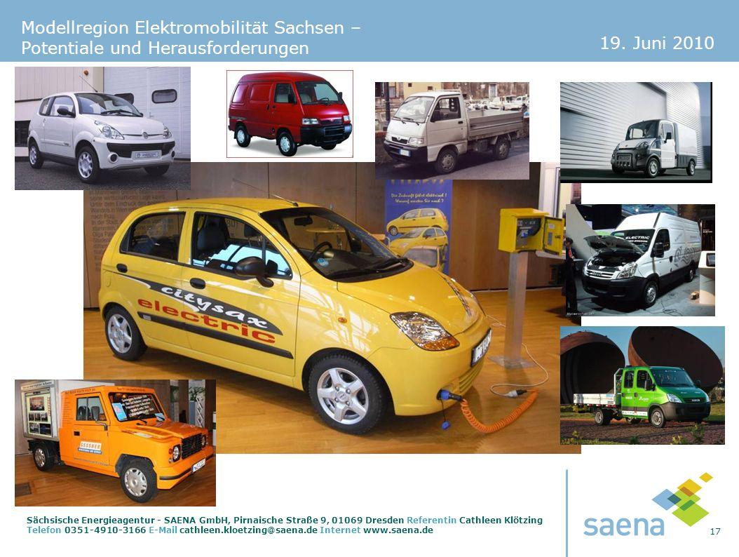 19. Juni 2010 17 Sächsische Energieagentur - SAENA GmbH, Pirnaische Straße 9, 01069 Dresden Referentin Cathleen Klötzing Telefon 0351-4910-3166 E-Mail