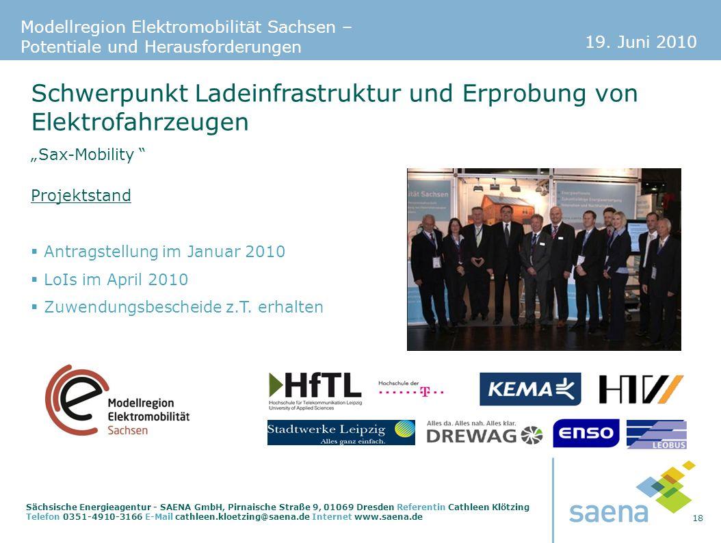 19. Juni 2010 18 Sächsische Energieagentur - SAENA GmbH, Pirnaische Straße 9, 01069 Dresden Referentin Cathleen Klötzing Telefon 0351-4910-3166 E-Mail