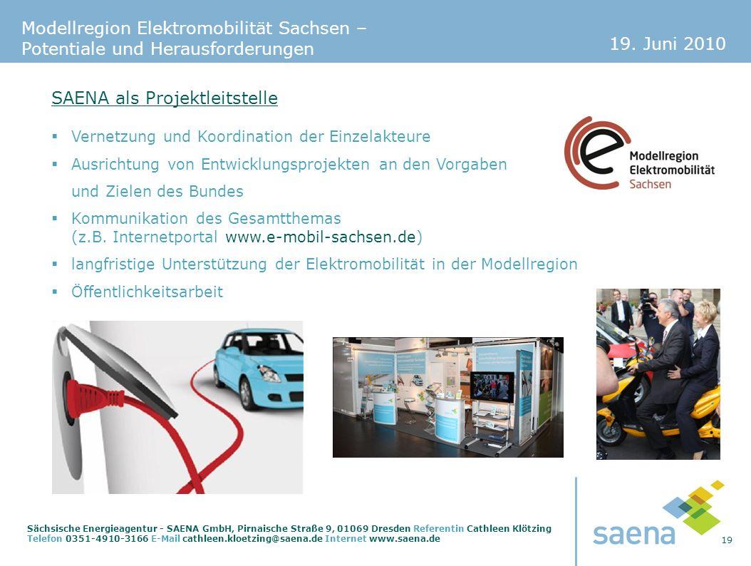 19. Juni 2010 19 Sächsische Energieagentur - SAENA GmbH, Pirnaische Straße 9, 01069 Dresden Referentin Cathleen Klötzing Telefon 0351-4910-3166 E-Mail