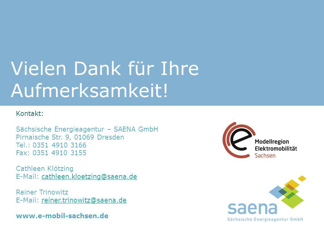 Vielen Dank für Ihre Aufmerksamkeit! Kontakt: Sächsische Energieagentur – SAENA GmbH Pirnaische Str. 9, 01069 Dresden Tel.: 0351 4910 3166 Fax: 0351 4
