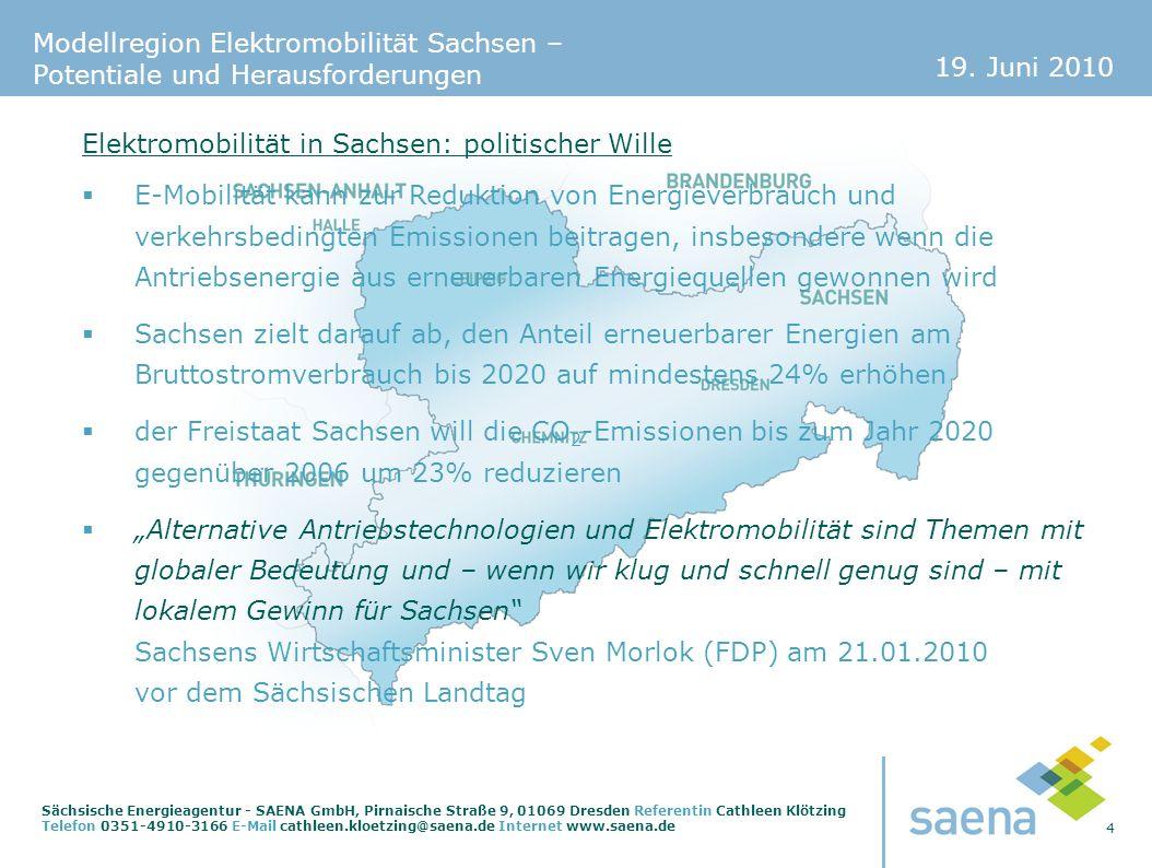 19. Juni 2010 4 Sächsische Energieagentur - SAENA GmbH, Pirnaische Straße 9, 01069 Dresden Referentin Cathleen Klötzing Telefon 0351-4910-3166 E-Mail