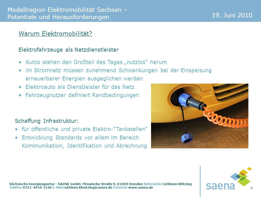 19. Juni 2010 6 Sächsische Energieagentur - SAENA GmbH, Pirnaische Straße 9, 01069 Dresden Referentin Cathleen Klötzing Telefon 0351-4910-3166 E-Mail