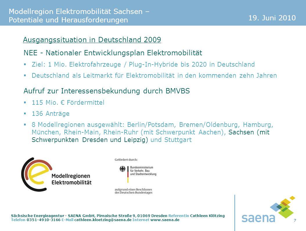 19. Juni 2010 7 Sächsische Energieagentur - SAENA GmbH, Pirnaische Straße 9, 01069 Dresden Referentin Cathleen Klötzing Telefon 0351-4910-3166 E-Mail