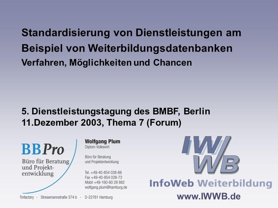 www.IWWB.de 20 InfoWeb Weiterbildung Das weitere Verfahren Entwurf eines ersten Teiles der PAS auf der Basis der Befragungsergebnisse Verabschiedung durch die Arbeitsgruppe Entwicklung von XML-Schnittstellendefinitionen zum Datenaustausch auf der Basis der inhaltlichen Vorgaben Empfehlungen zur Software Veröffentlichung der PAS im Sommer 2004