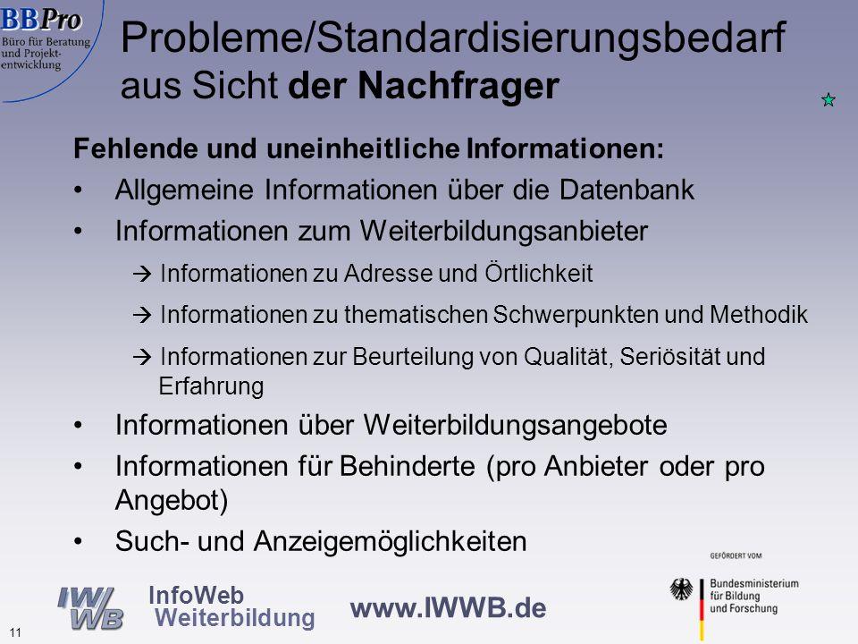 www.IWWB.de 10 InfoWeb Weiterbildung Unterschiedliche Feldformate und Inhalte thematisch gleicher Felder erschweren Recherche (speziell Kosten und Zei