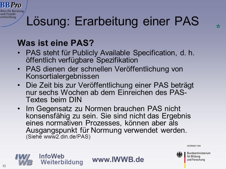 www.IWWB.de 12 InfoWeb Weiterbildung Hoher Arbeitsaufwand: Dateineingabe bzw. – übermittlung an mehrere Informationssysteme nötig Oft manuelle Datenüb