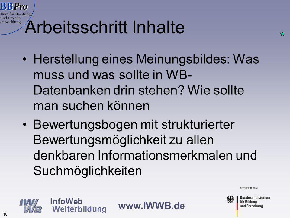 www.IWWB.de 15 InfoWeb Weiterbildung Umsetzung der PAS DIN e.V. lädt zu Kick Off Meeting ein (Juli 2003, 40 Teilnehmer) Bildung einer AG, Benennung ei