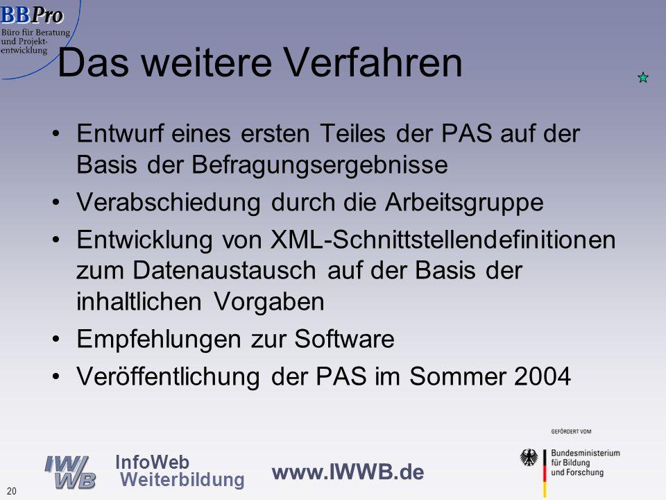 www.IWWB.de 19 InfoWeb Weiterbildung Beispiele Inhalte Infos zur Datenbank selbst: Herausgeber der Datenbank mit Adresse, Tel. + E-Mail, Einzugsbereic