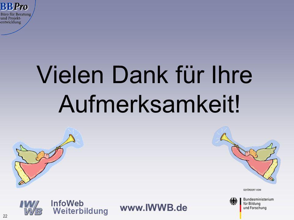 www.IWWB.de 21 InfoWeb Weiterbildung Probleme bei der Erarbeitung Standardisierung wird als Einschränkung von Freiheiten verstanden und ideologisch ab