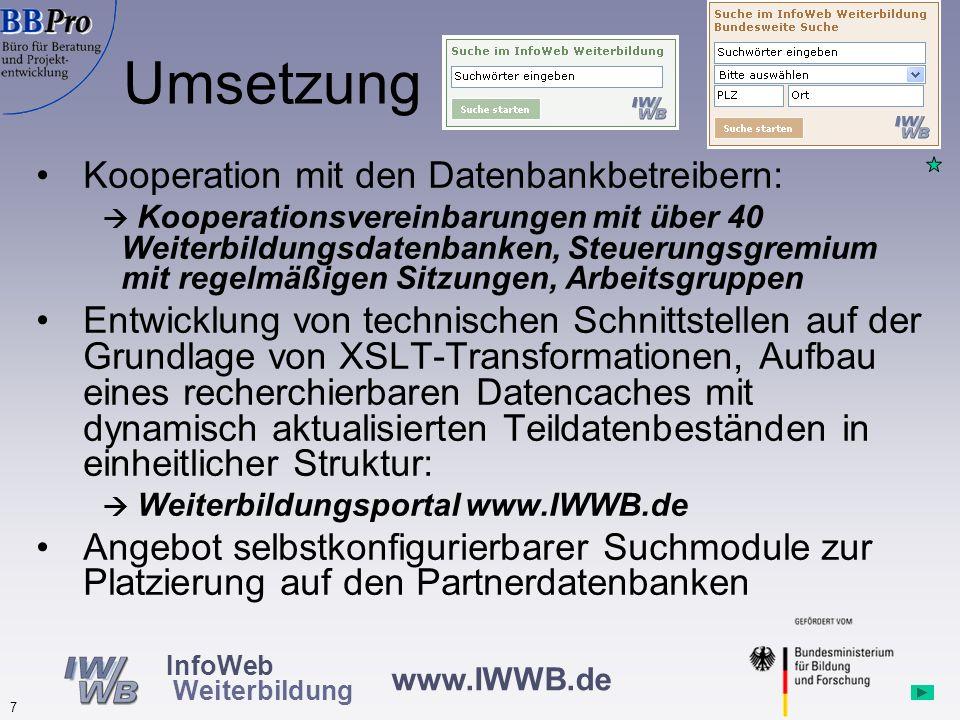 www.IWWB.de 7 InfoWeb Weiterbildung Kooperation mit den Datenbankbetreibern: Kooperationsvereinbarungen mit über 40 Weiterbildungsdatenbanken, Steuerungsgremium mit regelmäßigen Sitzungen, Arbeitsgruppen Entwicklung von technischen Schnittstellen auf der Grundlage von XSLT-Transformationen, Aufbau eines recherchierbaren Datencaches mit dynamisch aktualisierten Teildatenbeständen in einheitlicher Struktur: Weiterbildungsportal www.IWWB.de Angebot selbstkonfigurierbarer Suchmodule zur Platzierung auf den Partnerdatenbanken Umsetzung