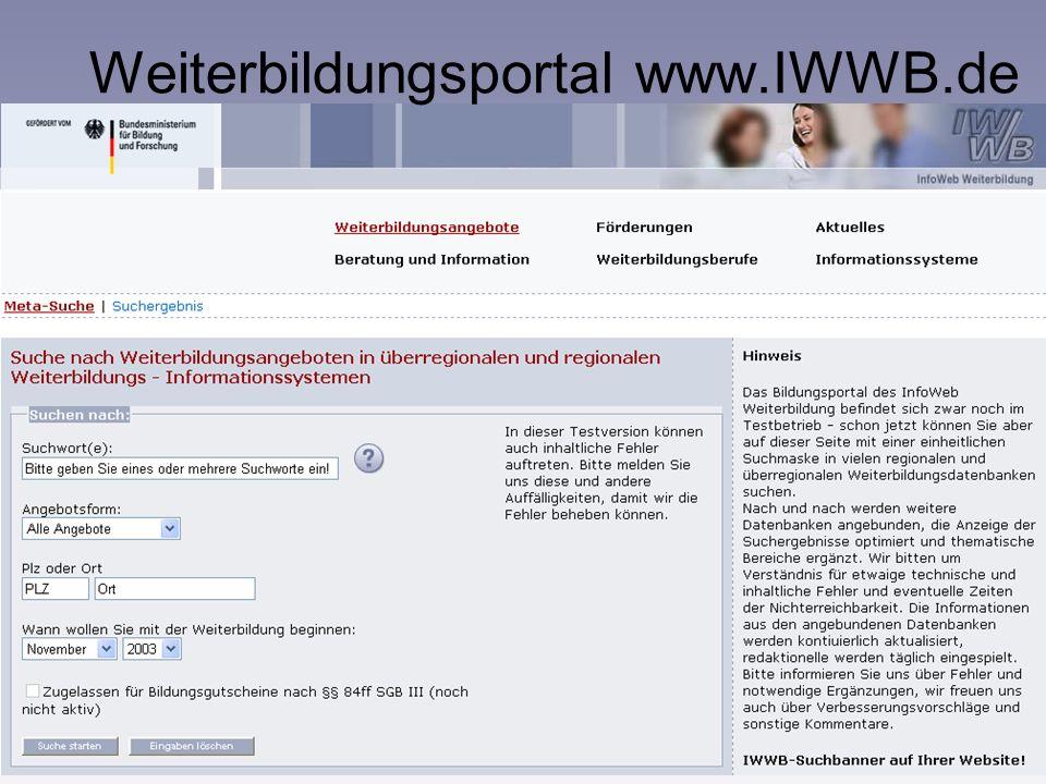 www.IWWB.de 7 InfoWeb Weiterbildung Kooperation mit den Datenbankbetreibern: Kooperationsvereinbarungen mit über 40 Weiterbildungsdatenbanken, Steueru