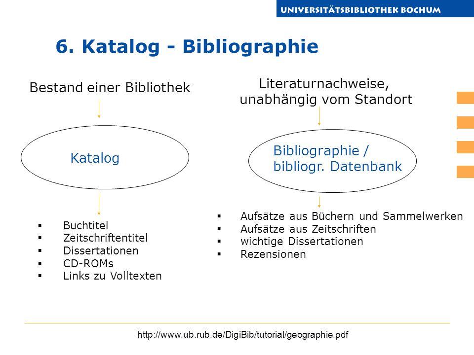 http://www.ub.rub.de/DigiBib/tutorial/geographie.pdf Buchtitel Zeitschriftentitel Dissertationen CD-ROMs Links zu Volltexten Katalog Bibliographie / b