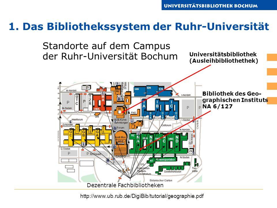 http://www.ub.rub.de/DigiBib/tutorial/geographie.pdf Standorte auf dem Campus der Ruhr-Universität Bochum Universitätsbibliothek (Ausleihbibliothethek