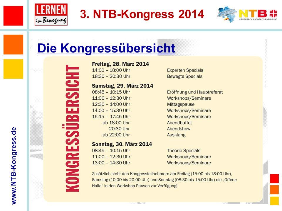 www.NTB-Kongress.de 3. NTB-Kongress 2014 Die Kongressübersicht