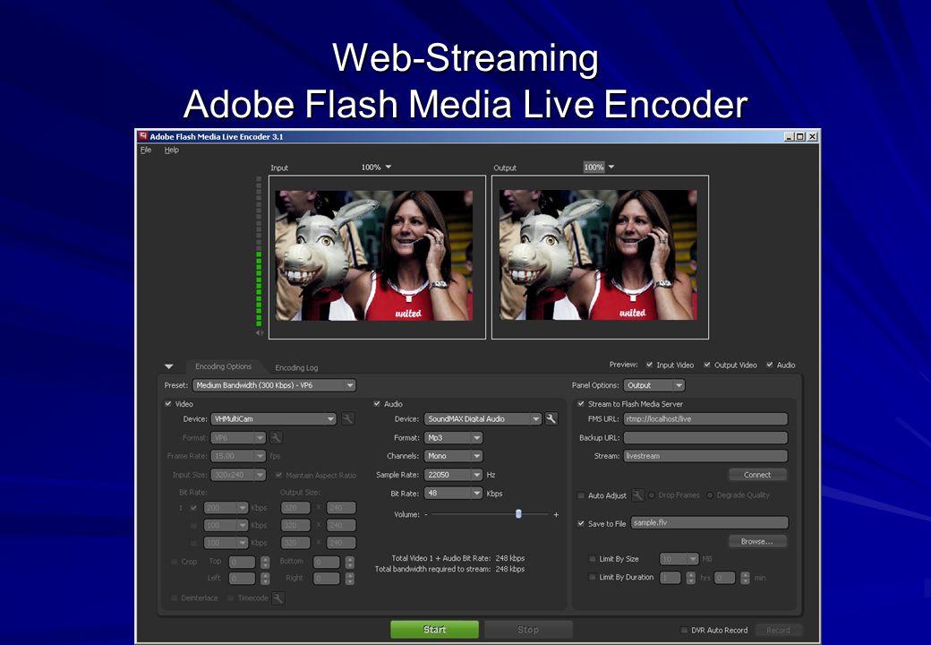 Oliver Lietz – Mobile Software– http://www.nanocosmos.de/lietz Web-Streaming Adobe Flash Media Live Encoder