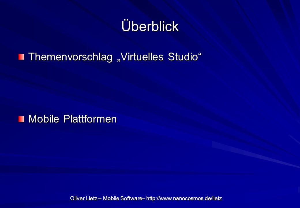 Oliver Lietz – Mobile Software– http://www.nanocosmos.de/lietz nanoStream Live Video Encoder Live Encoding/Streaming aus dem Browser Aufzeichnung, Encoding, Streaming –Webcam oder Profi-Kamera Flash-kompatibel (RTMP-Protokoll) 3D-Video (Stereoskopie) Plugin-Basiert für Internet Explorer, Firefox, … 3D-Video (Stereoskopie) Javascript-API